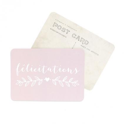 Carte postale Félicitations rose poudré