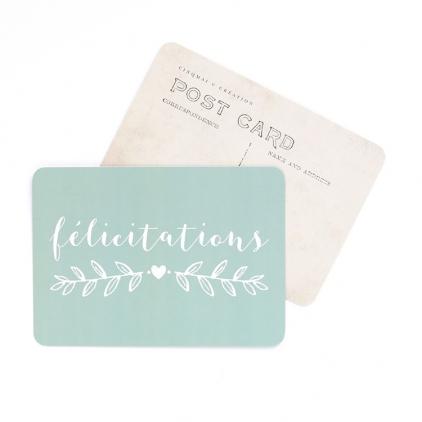 Carte postale Félicitations vert menthe