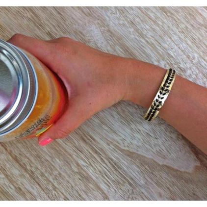 Bracelet Laetitia manchette dorée avec chaîne épi noir