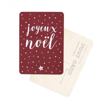 Carte postale Joyeux Noël stella bordeau