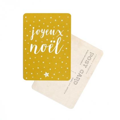 Carte postale Joyeux Noël stella vieil or