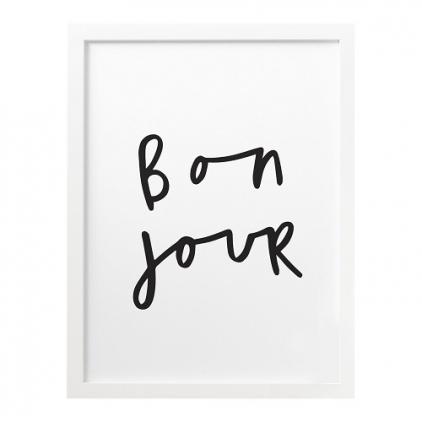 A3 print Bon Jour black & White