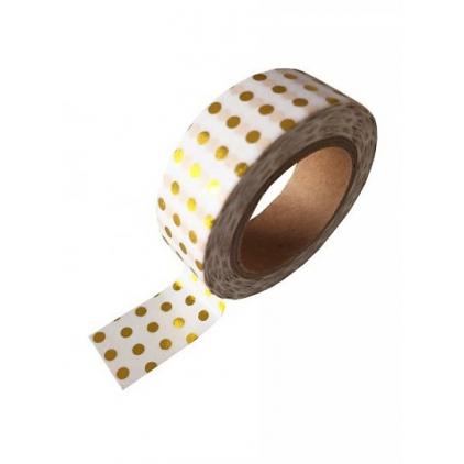 Washi tape white gold foil dots