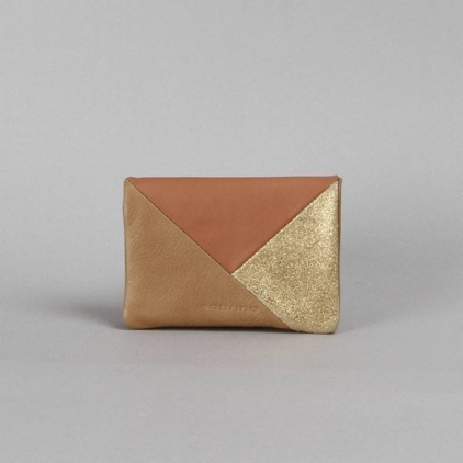 Pippa - portefeuille cuir patchwork sable / poudre
