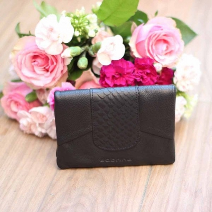Pippa croco - portefeuille cuir vachette - noir