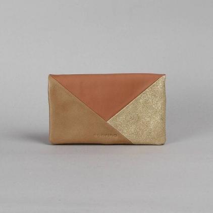 Kate - portefeuille cuir patchwork sable/poudre