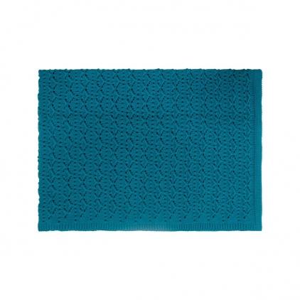 Couverture dentelle bleu pétrole