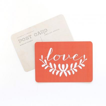 carte postale simple Love corail