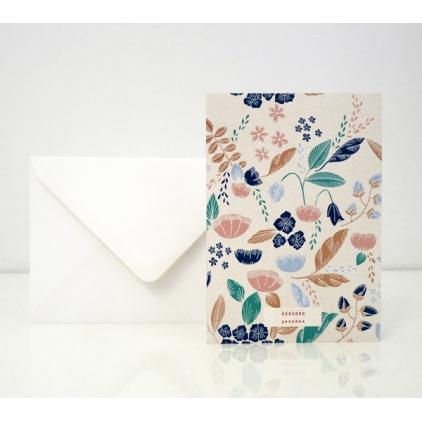 """Carte postale dans mon jardin """"pensées"""""""