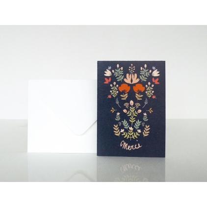 "Carte postale bouquet folk ""merci"""
