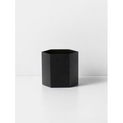 Hexagon pot large black