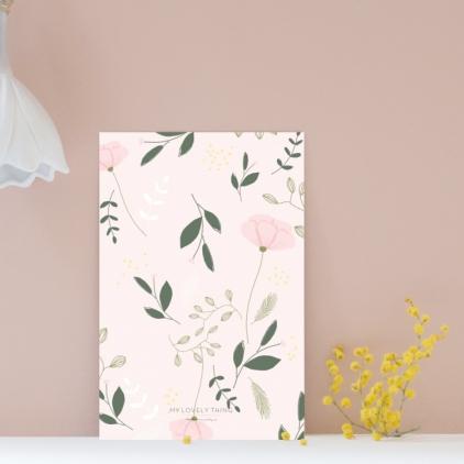 Carte postale Fleurs fond rose