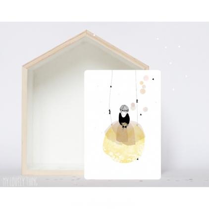 carte Poesie - fille sur balançoire