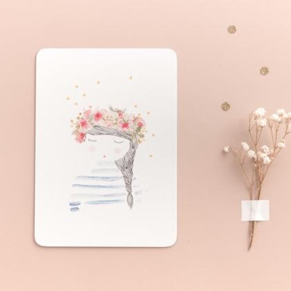 Carte postale Fille aux fleurs