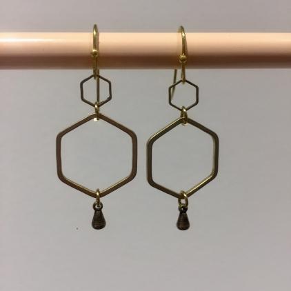 Boucles d'oreilles hexagone goutte