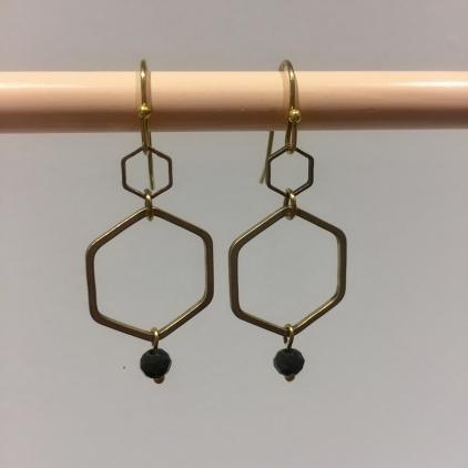 Boucles d'oreilles hexagone gris foncé