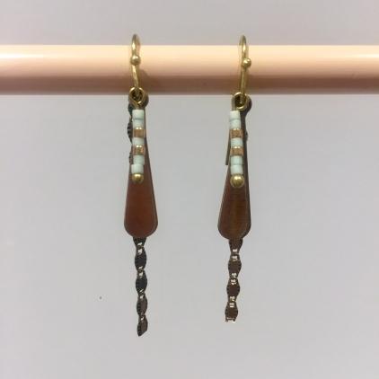 Boucles d'oreilles perles miyuki piécette goutte et chaîne bleu clair