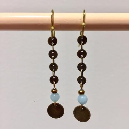 Boucles d'oreilles chaine piécette oeil de chat piécette bleu