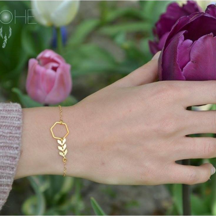 Bracelet Mona hexagone et épi