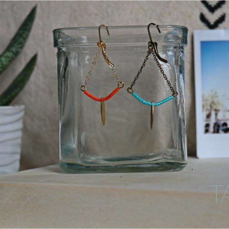 Boucles d'oreilles Soline laiton - demi lune et goutte - turquoise