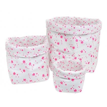 Panier small basket print star blanc/rose fluo