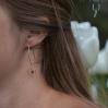 Boucles d'oreilles pendantes hexagone doré marbre