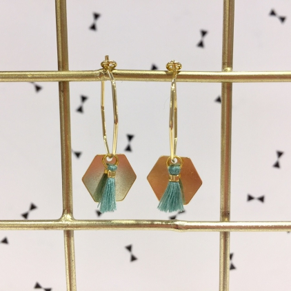 Boucles d'oreilles Sacha - Exagone et pompom turquoise