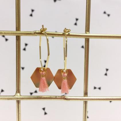Boucles d'oreilles Sacha - Exagone et pompom rose