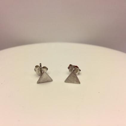 Boucle d'oreilles triangle brossé ARGENT