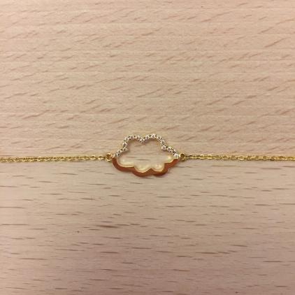 Bracelet doré nuage contour moitié strass