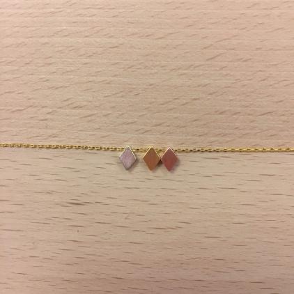Bracelet doré 3 losanges tricolores