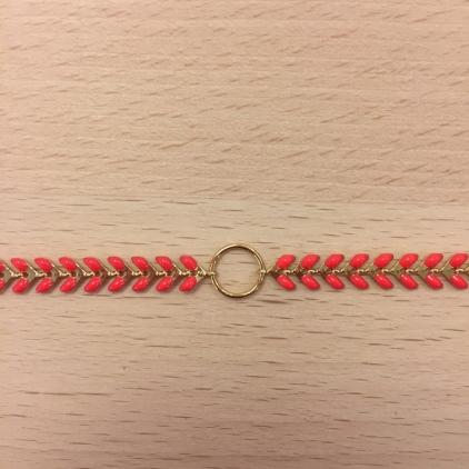 Bracelet chaine épi rouge et anneau au centre