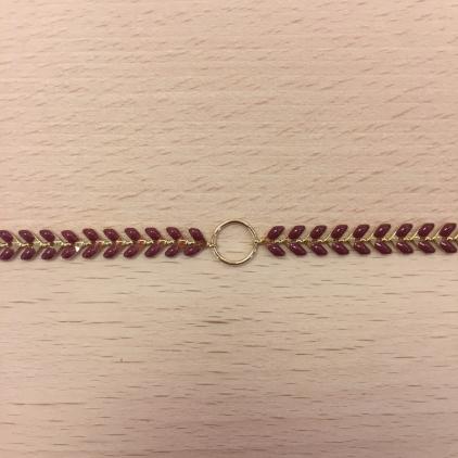Bracelet chaine épi bordeau et anneau au centre