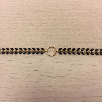 Bracelet chaine épi noir et anneau au centre