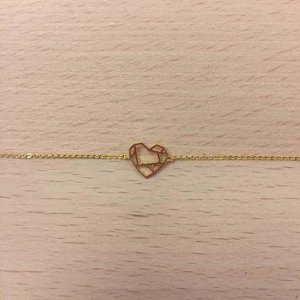 Bracelet doré coeur géométrique