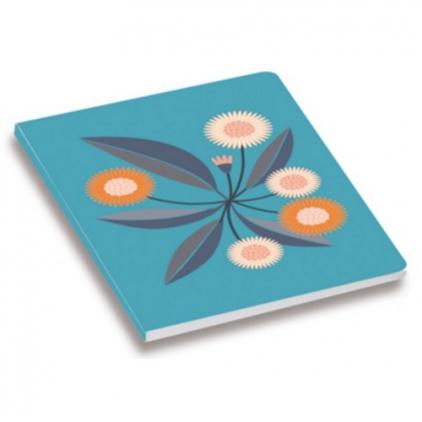 cahier Minilabo Bouquet fleurs fond bleu