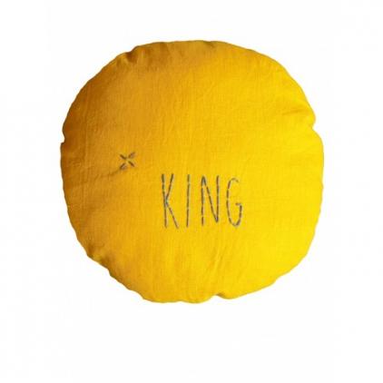 """Coussin en lin couleur moutarde """"King"""""""