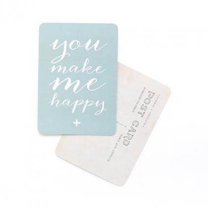 Carte postale you make me happy vert menthe