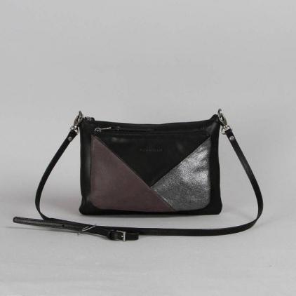 Manon - sac en cuir patchwork noir-ardoise