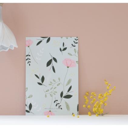 Carte postale Fleur fond aqua