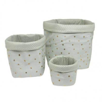 Panier big basket print confetti gris tilleul/or