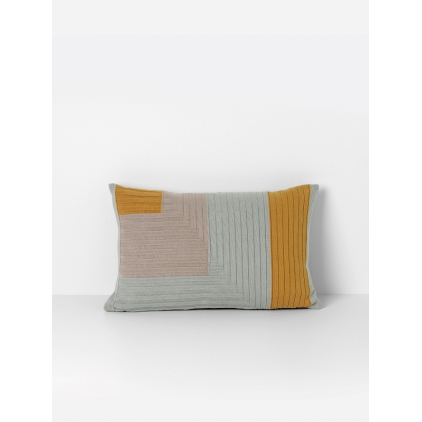 Angle knit cushion - curry