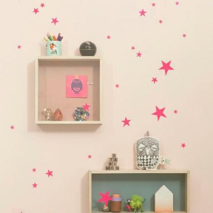 mini wallstickers - stars pink