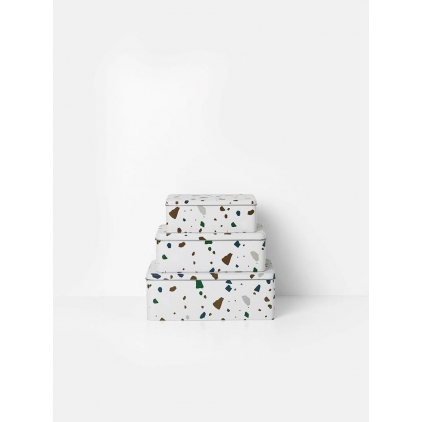 Terrazzo tin box grey medium
