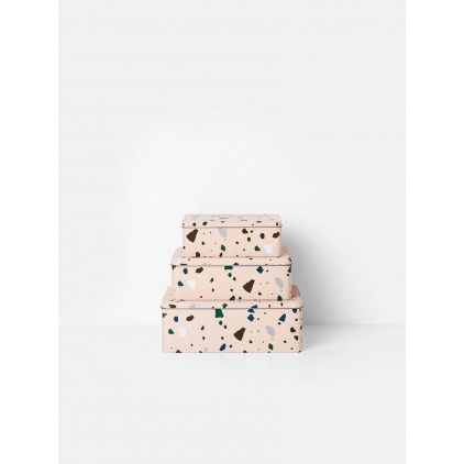 Terrazzo tin box rose medium