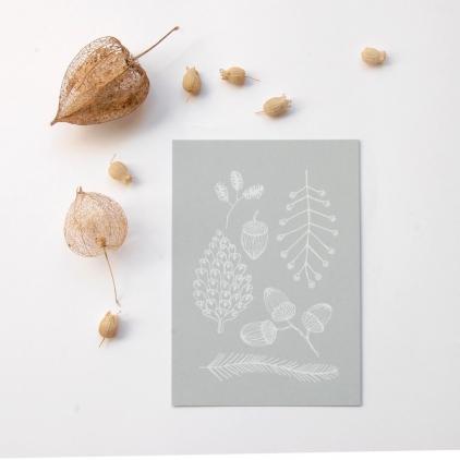 Carte pomme de pin imprimé blanc sur gris