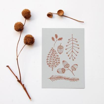 Carte pomme de pin imprimé marron sur gris