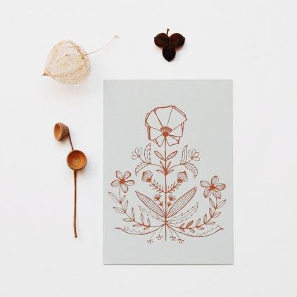 Carte Capucine imprimé marron sur gris