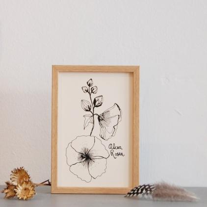 Carte printemps Alcea noir et blanc