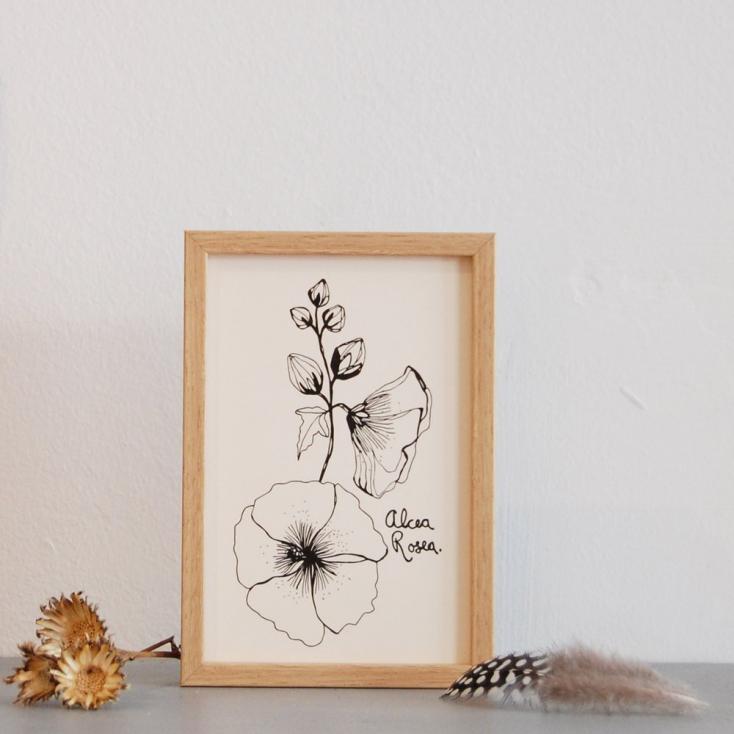 Papeterie carte printemps alcea noir et blanc - Tapisserie rayee noir et blanc ...